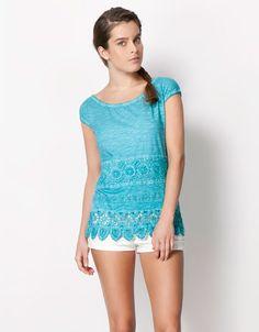 Bershka United Kingdom - BSK crochet detail T-shirt