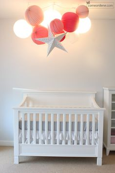 DIY paper lantern and light mobile for above the crib