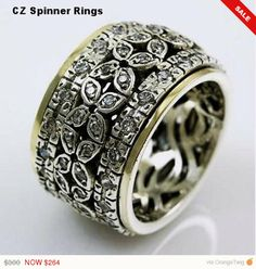 Jewellery & Watches Fine Rings Turquoise Solid 925 Sterling Silver Spinner Ring Meditation,ring Size L M15