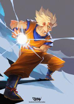 Super Saiyan Son Goku by ChonnalisaArt.deviantart.com on @DeviantArt Goku Manga, Manga Anime, Anime Art, Majin Boo, Dragon Super, Goku Ultra Instinct, Goku Super, Kaito, Dragon Ball Z