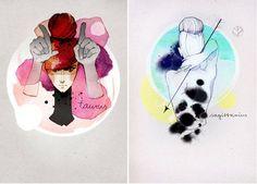 beautiful watercolor zodiac signs.