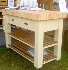 Butchers Block (bloc) Island (trolly) beech and hand painted optional castors | eBay