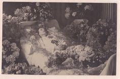 Vintage Post Mortem Photograph - Young Lady Surrounded By Flowers - Funeral