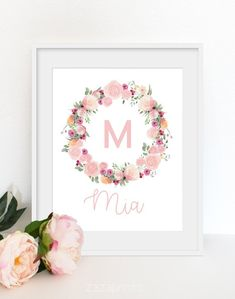 Floral nursery name Baby shower gift Baby girl wall art Personalized prints Blush pink Floral initial print Custom name art Nursery Name, Nursery Decor, Nursery Ideas, Room Ideas, Baby Names Flowers, Name Wall Art, Flower Shower, Floral Nursery, Online Printing Services