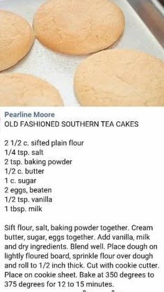 Old fashion southern tea cookies Tea Cake Cookie Recipe, Tea Cake Cookies, Cookie Desserts, Yummy Cookies, Cookie Recipes, Dessert Recipes, Cupcakes, Making Cookies, Biscuit Cookies