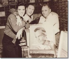 Dewey Phillips & Elvis at 'Pop Tunes' music store. Dewey Phillips -  the disc-jockey who first played Elvis' That's All Right on his 'Red, Hot and Blue' radio program -  Poplar Tunes is a record store just a short distance from Lauderdale Cts.  Teenage Elvis spent a great deal of time in the store, immersing himself in the Memphis music scene. As he became successful in his own right, it is reported he would stop in to find out how well his records were selling.