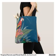 Shop Tropical Parrots and Floral Dark Blue Tote Bag created by beachcafe. Summer Accessories, Animal Skulls, Edge Design, White Shop, Parrots, Diy Face Mask, Pink And Green, Dark Blue, Tropical