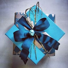 """""""Luxurious Gift Wrapping #turquoise #giftwrapping #wiredribbon #taffeta #tiffany #giftbox #presents #gifts"""" Photo taken by @janemeans on Instagram, pinned via the InstaPin iOS App! http://www.instapinapp.com (05/12/2013)"""