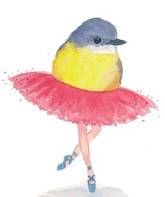 Bird Watercolour Original Ballet Bird Bird Art by WaterInMyPaint