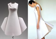 hussein chalayan airplane dress, spring/summer collection 2000. it is made from the same material used in aircraft construction and changes shape by remote control.