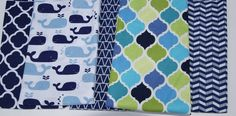 Baby Burp Cloths - Set of 2 Quilted Boutique Baby Burp Rags  - You Choose - Navy Blue Quatrefoil, Whales, Triangles, Nautical by PurpleLadybugGifts on Etsy