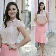 140 Likes 9 Comments Casual Office Wear, Look Office, Fashion Wear, Fashion Dresses, Cute Dresses, Cute Outfits, Skirt Outfits, Work Attire, Dress Patterns
