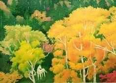 東山魁夷(Higashiyama Kaii 1908ー1999)「森装う」 Japanese Art Styles, Japanese Artists, Kawaii Illustration, Contemporary Landscape, Japan Art, Beautiful Birds, Beautiful Things, Art Inspo, Painting & Drawing