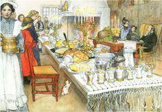 Ceia de Natal, 1904/1905 Carl Larsson (Suécia, 1853-1919) Aquarela