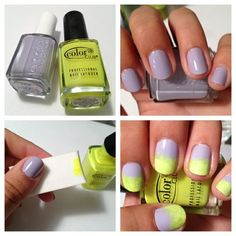 Lavender & lemon ombré nail art, never would of thought of it but I LOVE IT.