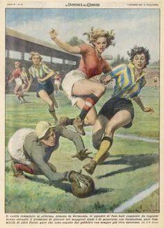 Ladies Football a Ladies Match - soccer Soccer Art, Football Art, Soccer Match, Football Match, Pin Ups Vintage, Illustrations, Illustration Art, Fc Liverpool, Poster