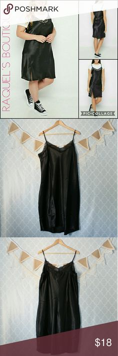Plus Size Black Midi Slip Dress Details: Black silky midi length slip dress with elasticated bust, lace trimming, and side slits  Brand: Rue21   Size: 1XL  Measurements: Bust/44-48? inches Length/ 34-39 inches   Condition: NWT Rue21 Dresses Midi