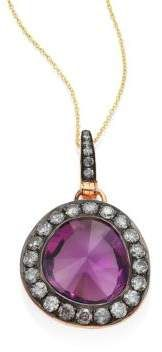 Annoushka Dusty Diamonds Amethyst Pendant #amethyst #diamonds #diamondpendants #halo #pendants #halopendants #ovalshaped #pavediamonds #finejewelry