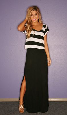 Cute MIAMI STRIPE MAXI IN BLACK- fairly reasonably priced