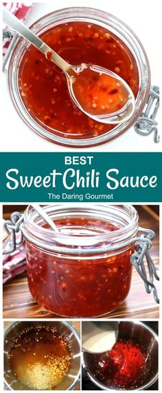 BEST Sweet Chili Sauce - The Daring Gourmet This homemade sweet chili sauce is guaranteed to become a favorite staple in your home! It's versatile, is quick and easy to make, is free of additives, and tastes WAY better than the store-bought stuff! Sauce Chili, Thai Sweet Chili Sauce, Sweet Red Chili Sauce Recipe, Thai Chili Wing Sauce Recipe, Sweet Pizza Sauce Recipe, Chili Sauce Recipe Canning, Hot Sauce, Hot Fudge, Sauces