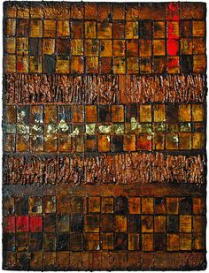 Adrian Lane: Untitled mixed media on canvas 40.5cm x 50.5cm 'A mixed media piece on canvas produced for a brother-in-law using the theme east meets west, relating to the joining of our two families, one English, one Korean. The piece contains such diverse materials as fabric, printed matter, wood, sand, glue, acrylic and oil paints and wood varnish.'
