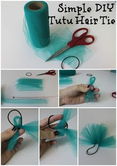 Simple tutu hair tie craft that is perfect for pigtails, ponytails, and costumes. Choose two colors of tulle for a fun two-tone puff!Simple Tutu Hair Tie tutorial - Mix with ribbon in team colorsEasy enough way to jazz up a hair tie!Party bags and modify Diy Tutu, Tulle Tutu, Diy Doll Tutu, Tulle Pompoms, Tulle Crafts, Dance Crafts, Diy Crafts, Creative Crafts, Tulle Projects