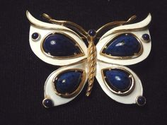 60's Vintage crown Trifari Butterfly Pin Brooch lapis Cabochons white enamel NR | Jewelry & Watches, Vintage & Antique Jewelry, Costume | eBay!