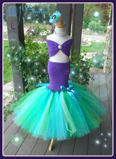 Sea Green and Purple Mermaid 3 Piece Tutu Skirt by LolaJBoutique