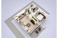 50sqm flat is 538 sqft, the Granny Flat is a great concept. there are smaller designs on this site, too