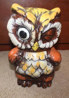 Vintage Winking Owl Cookie Jar by littlebiteverything on Etsy, $35.00