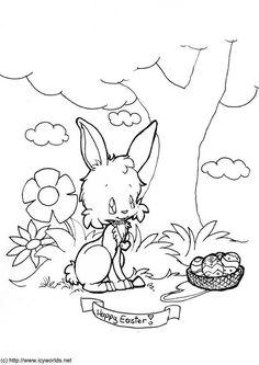 Bilde å fargelegge god påske. Barn lærer om god påske mens de fargelegger | Bilder til bruk i skole og utdanning - bil 6081.