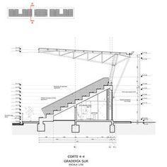 Galería de Estadio Esparta / BVA + GVAA - 31 Stadium Architecture, Timber Architecture, Architecture Concept Diagram, Architecture Portfolio, Architecture Details, Steel Structure Buildings, Roof Structure, Building Structure, Construction Drawings