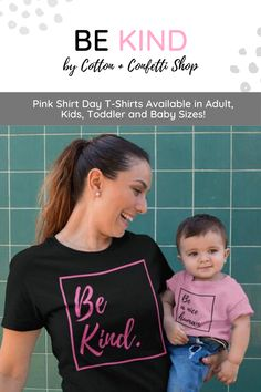"Show your support and stand up against bullying by purchasing one of our pink baby t-shirts for 2020 Pink Shirt Day outfit. With Pink Shirt Day quotes such as ""Be Kind"" ""Choose Kind"" and ""Be a Nice Human"" you can show your support for the cause to end bullying. Available in our Etsy and Shopify pages! Cotton + Confetti Shop 