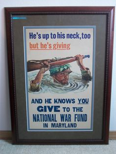 Original WW2 poster for the Maryland National war fund.