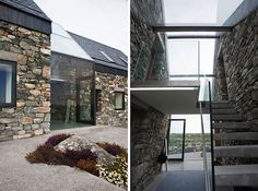 Seaside Stone Cottages Joined by Glass Entry-Stairwell   Home Design Find