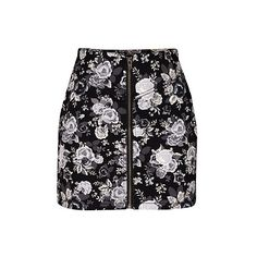 H b floral zipped skirt ❤ liked on Polyvore
