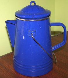 VINTAGE BLUE ENAMEL GRANITE WARE COFFEE BOILER POT
