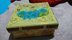 Caixa flor azul