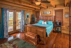 Owners log home suite in a custom floor plan