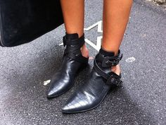 leather pointed ankle booties #shoes