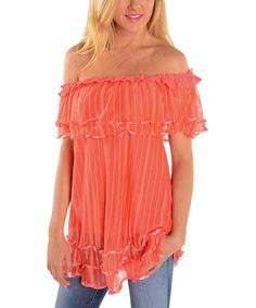Take a look at the Coral Ruffle Off-Shoulder Tunic on #zulily today!