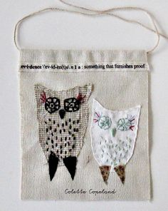 Small art quilt embroidery  An Evidence of Owls by ColetteCopeland, $40.00