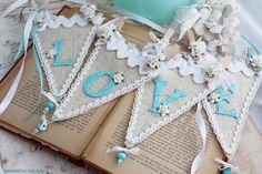 """Change the """"Love"""" to something relating to baby. Burlap Projects, Burlap Crafts, Sewing Projects, Craft Projects, Bunting Tutorial, Make Bunting, Wedding Bunting, Bunting Garland, Party Banners"""