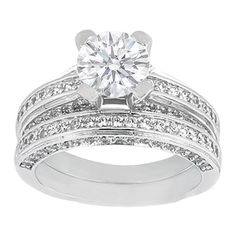 Engagement Ring - Diamond Bridge Engagement Ring with Matching Wedding Band