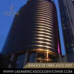 Bajo nuestra luz dorada hacemos brillar a Ciudad de Panamá.  Under our golden light we make Panama City shine. Facade Lighting, Bar Lighting, Building Elevation, Facade Architecture, Skyscraper, Tower, Design, Panama City, Glow