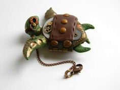 Steampunk Polymer Clay Pendant Sea Turtle