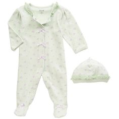 """Little Me Girls Mint Petite Rose Long Sleeve Footie and Hat Layette Set - Mamiye Brothers - Babies """"R"""" Us *NEWBORN*"""
