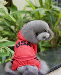 A18  Dog  100% cotton Sweatshirts  Clothes- USA Letter  Winter/autumn Clothing for Dogs Pets  Clothes