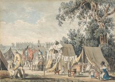 James Malton, 1761-1803, A Military Encampment in Hyde Park, 1785, Watercolor with pen in black ink, with traces of graphite on moderately t...
