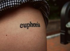 Euphoria: a feeling or state of intense excitement and happiness Kpop Tattoos, Trendy Tattoos, Unique Tattoos, Beautiful Tattoos, Small Tattoos, Lace Sleeve Tattoos, Lace Tattoo, Tattoo Word Fonts, Word Tattoos